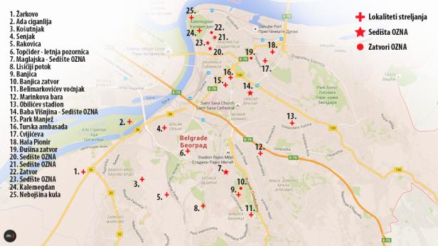 Мапа злочина ОЗНА у Београду